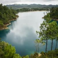 Lake Tziscao is the largest of the 59 lakes found at Parque Nacional Lagunas de Montebello.