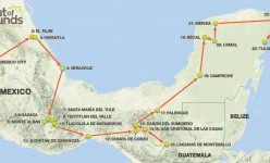 Colonial Cities & Mayan Ruins of Southern Mexico 2019 Tour Route
